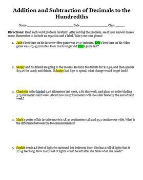 Addition and Subtraction of Decimals Editable Word Problems
