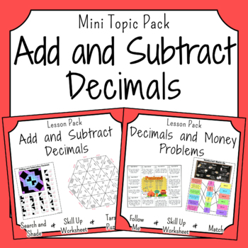 Addition and Subtraction of Decimals Activities