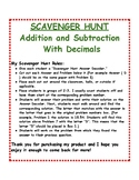 Addition and Subtraction of Decimals: Scavenger Hunt