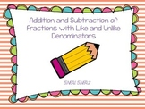 Addition and Subtraction of Fractions Activity Cards