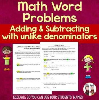 Addition and Subtraction of Fractions Editable Word Problems