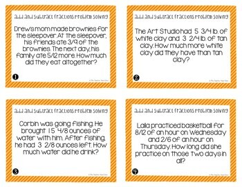 Add and Subtract Fractions Problem Solving Task Cards for 4th Grade