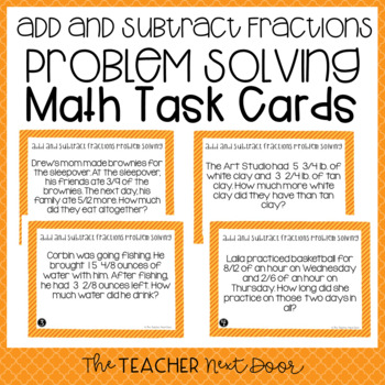 Add and Subtract Fractions Problem Solving Task Cards for