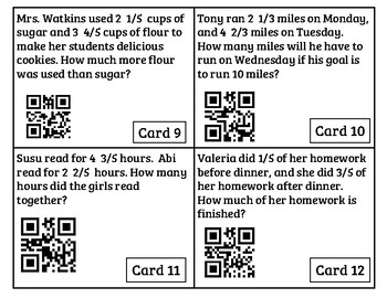 Addition and Subtraction of Fractions - QR Reader Task Cards