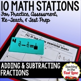Adding and Subtracting Fractions with Like Denominators Math Stations