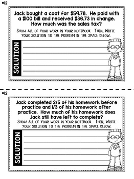 Addition and Subtraction of Fractions Word Problems - 5th Grade Math Notebook