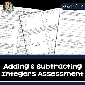 Integer Operations Assessment