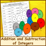 Addition and Subtraction of Integers Color by Number