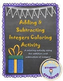 Addition and Subtraction of Integers Coloring Fun Activity