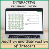 Addition and Subtraction of Integers Digital Crossword Puzzle