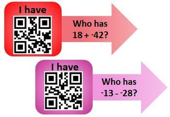 "Addition and Subtraction of Integers QR Code ""I have, who has"" review activity"