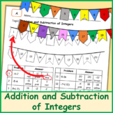 Addition and Subtraction of Integers   Worksheet