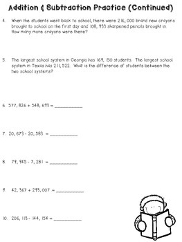 Addition and Subtraction of Larger Numbers with Word Problems