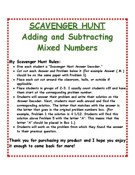 Addition and Subtraction of Mixed Numbers: Scavenger Hunt
