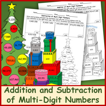 Addition and Subtraction of Multi-Digit Numbers Christmas