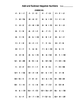 Addition And Subtraction Of Negative Numbers Practice