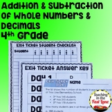 Addition and Subtraction of Whole Numbers and Decimals Unit with Lesson Plans