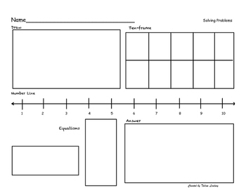 Addition and Subtraction problem solving  tens frame number line draw equation