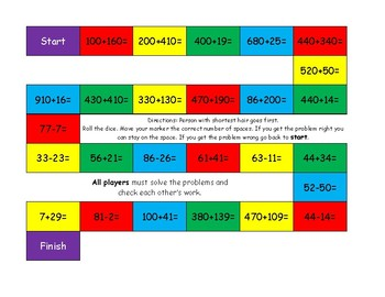 Addition and Subtraction problems Board Game