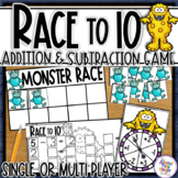 Addition and Subtraction - tens frame game - monster theme