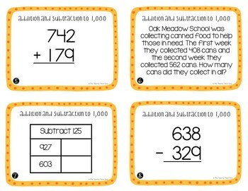 Addition and Subtraction to 1,000 Task Cards for 3rd Grade