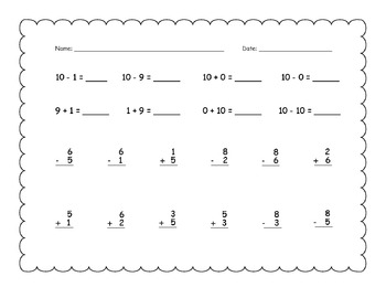 Addition and Subtraction to 10: 35 Practice Pages