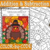Addition and Subtraction to 10 Coloring Pages   Thanksgiving Day Color By Number