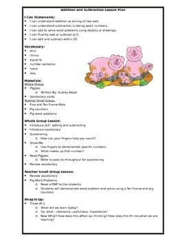 Addition and Subtraction to 10 Lesson Plan