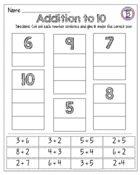 Addition and Subtraction to 10 Pack