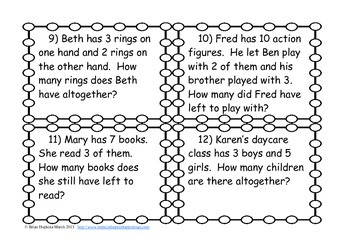 Addition and Subtraction to 10 Word Problem Task Cards (K.OA.2, 1.OA.1)