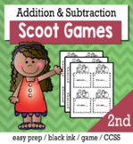 Addition and Subtraction to 100, 1000 - Scoot Game/Task Cards
