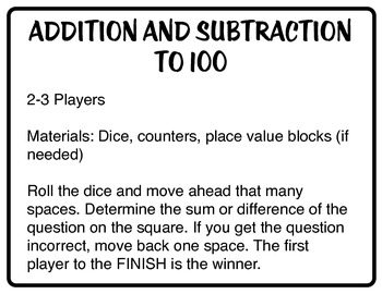 Addition and Subtraction to 100 Board Games