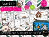Addition and Subtraction to 100 Number Tiles - Pet Theme Math Center