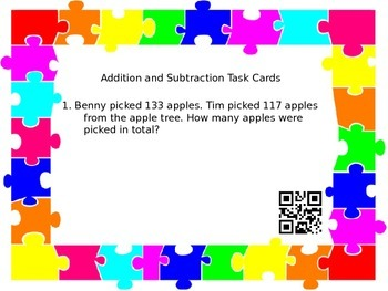 Addition and Subtraction to 1000 Task Cards
