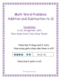Addition and Subtraction to 12 Word Problems