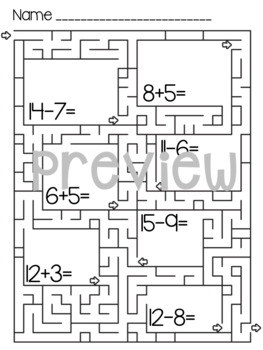 Addition and Subtraction to 15 Mazes