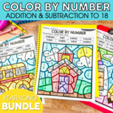 Addition and Subtraction to 18 Color by Number Growing Bun