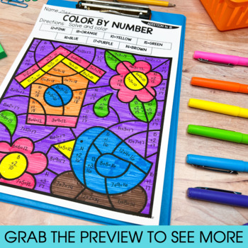 Addition and Subtraction Worksheets | Color by Number Year Long Bundle | Spring