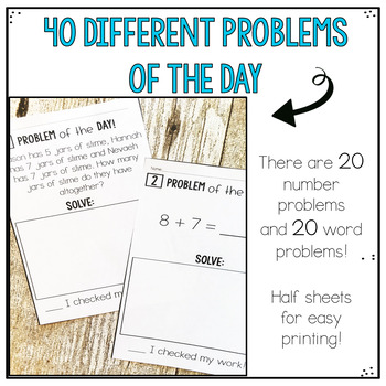 Addition and Subtraction to 20- Problem of the Day