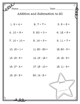 Addition and Subtraction to 20 FREEBIE