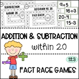 Addition and Subtraction to 20 - Fact Fluency Race Games
