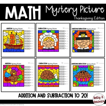 Addition and Subtraction to 20 Mystery Picture- Thanksgiving Edition