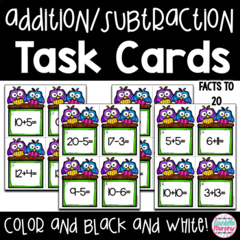 Addition and Subtraction to 20 Task Cards or Scoot Game