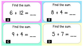 Addition and Subtraction to 20 Task Cards/Scoot