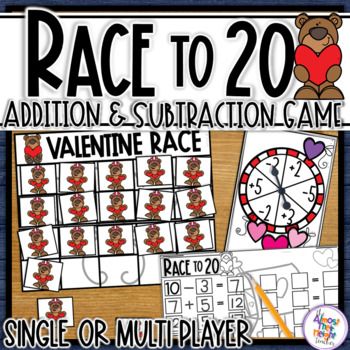 Valentine Addition & Subtraction to 20 an addition & subtraction 20's frame game