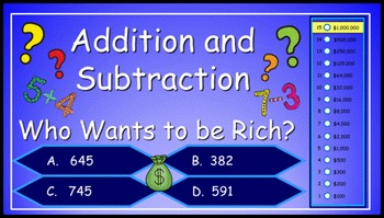 Addition and Subtraction to One Thousand Power Point Millionaire Game 3rd Grade