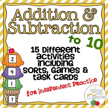 Addition and Subtraction to Ten - 15 Activities for More Practice