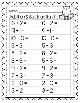 Addition and Subtraction to Ten - LOOKING AT SYMBOLS