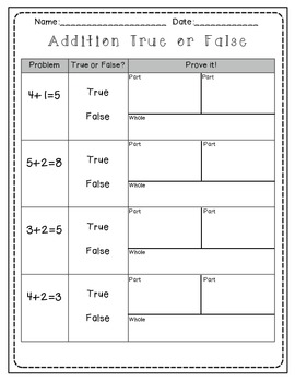 Addition and Subtraction true/false