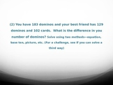 Addition and Subtraction up to 200 and Money Review Word Problems